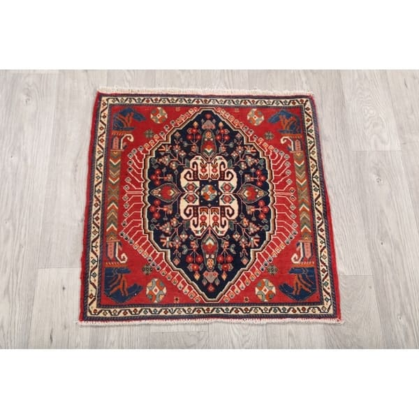 A Vintage Persian Kerman Oriental Rug Size 4 X Circa 1940 This Lovely Small Square Features An Elegant Medallion On Creamy Ivory Field