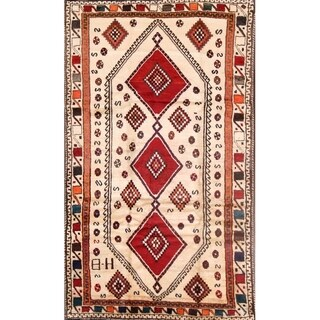 "Vintage Traditional Gabbeh Ghashgaei Hand Made Wool Persian Area Rug - 8'6"" x 4'10"""