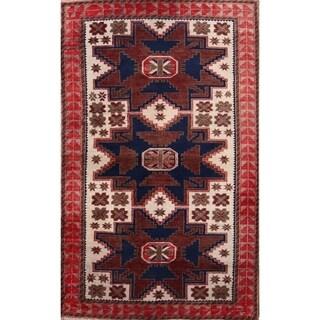 "Kazak Russian Vintage Hand Knotted Oriental Area Rug - 5'8"" x 3'6"""
