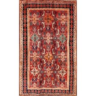 "Kashkoli Shiraz Vintage Persian Hand Made Wool Area Rug Red - 6'7"" x 3'11"""