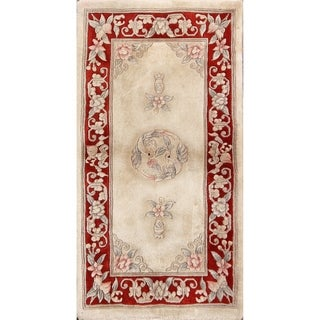 "Hand Knotted Art Deco Nichols Chinese Traditional Floral Area Rug - 4'3"" x 2'4"""
