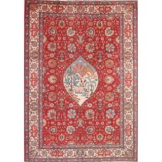 "Vintage Traditional Geometric Handmade Tabriz Persian Area Rug - 11'6"" x 8'2"""