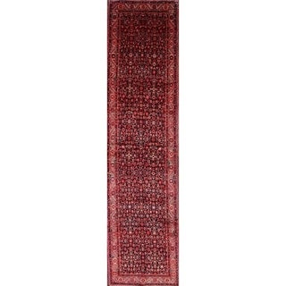 "Classical Hamedan Persian Traditional Hand Made Rug Tribal Red Carpet - 14'0"" x 3'6"" Runner"