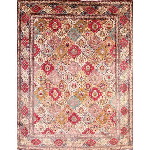 "Vintage Traditional Tabriz Persian Handmade Wool Area Rug Geometric - 12'10"" x 9'9"""