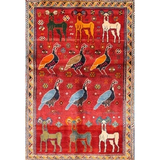 "Gabbeh Traditional Shiraz Classical Hand Made Wool Persian Area Rug - 4'6"" x 3'1"""