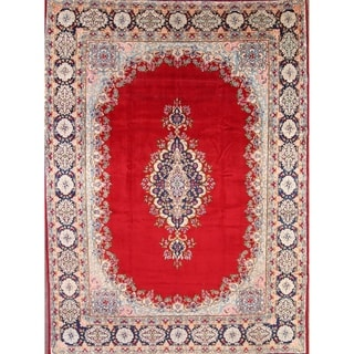 "Vintage Kerman Floral Hand Made Wool Persian Area Rug - 13'7"" x 9'10"""