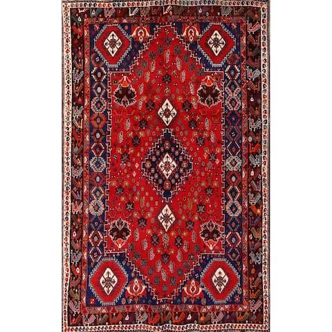 "Vintage Hand Made Wool Traditional Shiraz Abadeh Persian Rug Tribal - 8'9"" x 5'5"""