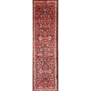"Lilian Hamadan Traditional Hand Made Persian Vintage Floral Rug - 12'7"" x 3'8"" Runner"