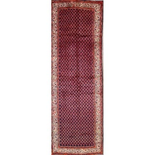 """Hand Knotted Wool Traditional Botemir Persian Rug Geometric - 10'2"""" x 3'6"""" Runner"""