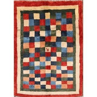"Modern Gabbeh Persian Checkered Area Rug Handmade Traditional - 5'0"" x 3'9"""