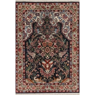 """Black Hand Knotted Floral Qum Persian Oriental Silk Rug - 13'1"""" x 9'7"""""""