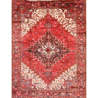 """Vintage Traditional Hand Knotted Wool Heriz Persian Area Rug - 10'8"""" x 8'2"""""""