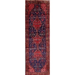 "Hand Made Wool Traditional Hamadan Malayer Persian Rug Geometric - 11'1"" x 3'9"" Runner"