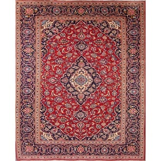 """Vintage Floral Kashan Hand Made Traditional Persian Medallion Area Rug - 11'6"""" x 7'11"""""""