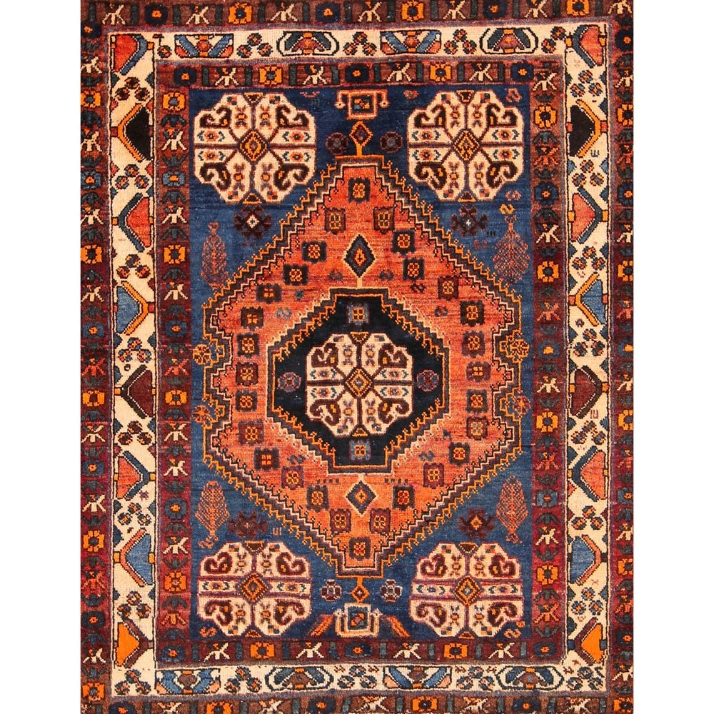 Hand Knotted Persian Area Rug Orange