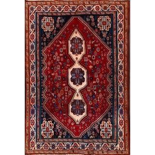 "Hand Made Wool Traditional Abadeh Shiraz Persian Area Rug - 6'10"" x 4'9"""