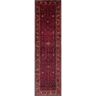"Hand Made Woolen Traditional Hamadan Persian Tribal Rug - 13'6"" x 3'9"" Runner"