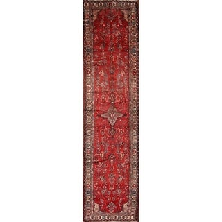 "Vintage Hand Knotted Wool Geometric Hamedan Persian Rug Tribal Carpet - 14'0"" x 3'6"" Runner"