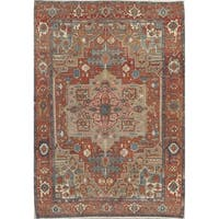 """Antique Hand Knotted Wool Geometric Heriz Persian Area Rug - 12'3"""" x 8'10"""""""