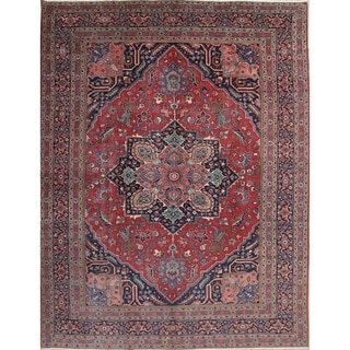 """Antique Hand Knotted Wool Floral Heriz Persian Oriental Area Rug - 13'8"""" x 10'3"""""""