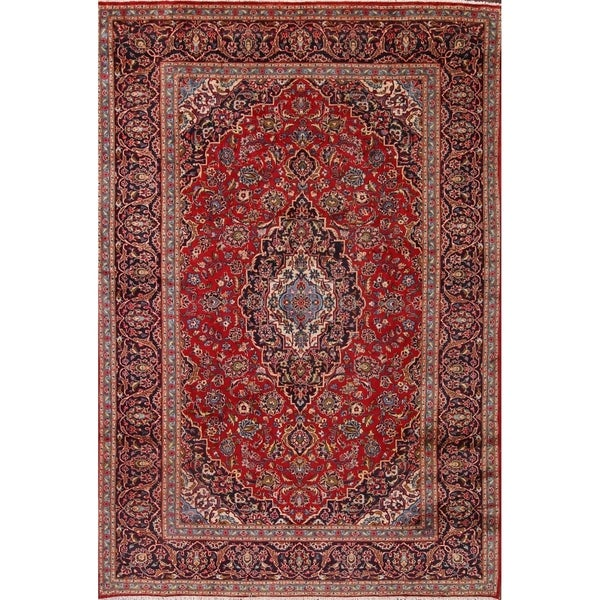 Shop Classical Kashan Medallion Hand Knotted Persian Wool: Shop Floral Hand Made Traditional Kashan Persian Medallion