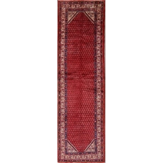 """Hand Knotted Wool Botemir Traditional Bote Persian Geometric Rug - 12'6"""" x 3'6"""" Runner"""