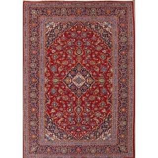 """Hand Knotted Wool Traditional Kashan Persian Medallion Area Rug - 11'9"""" x 8'2"""""""