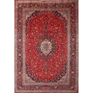 """Kashan Hand Knotted Medallion Persian Vintage Area Rug - 13'11"""" x 9'8"""""""