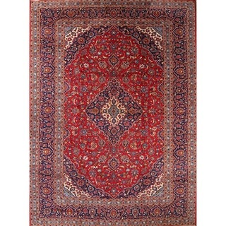 "Kashan Traditional Persian Hand Knotted Wool Medallion Area Rug - 13'2"" x 9'7"""