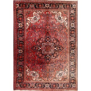"""Vintage Hand Knotted Wool Heriz Persian Traditional Area Rug - 9'7"""" x 6'7"""""""
