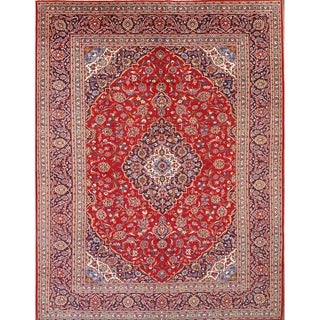 "Hand Knotted Wool Traditional Kashan Persian Medallion Area Rug - 12'7"" x 9'8"""