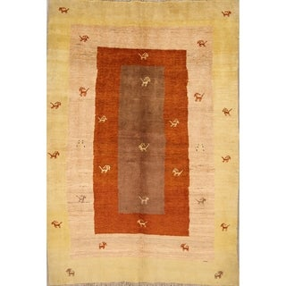 "Qashqai Gabbeh Shiraz Persian Hand Knotted Traditional Area Rug - 5'9"" x 4'1"""