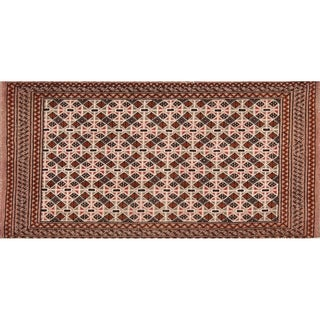 """Hand Knotted Traditional Turkoman Persian Area Rug Geometric Carpet - 3'10"""" x 1'11"""""""