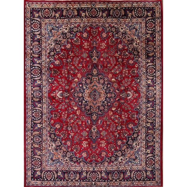 Shop Classical Kashan Medallion Hand Knotted Persian Wool: Shop Hand Knotted Wool Traditional Floral Mashad Persian