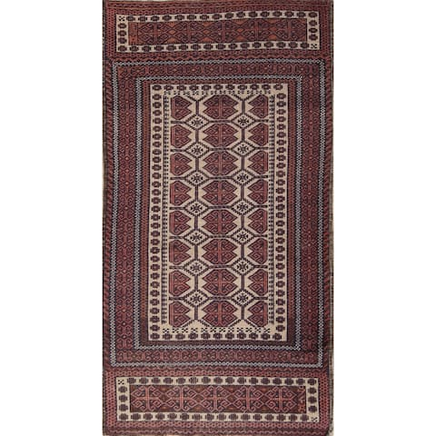 """Antique Geometric Balouch Traditional Hand Knotted Oriental Rug - 6'2"""" x 3'3"""""""