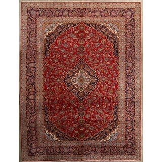"""Kashan Hand Knotted Vintage Persian Medallion Area Rug - 13'2"""" x 9'10"""""""