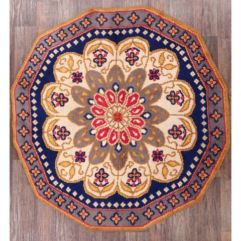 "Vintage Traditional Rya Oriental Floral Area Rug Hand Woven Wool - 6'9"" x 6'9"" Octagon - 6'9"" x 6'9"" Octagon"
