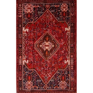 "Vintage Shiraz Hand Made Traditional Abadeh Persian Area Rug - 8'0"" x 5'2"""