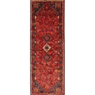 "Abadeh Shiraz Persian Vintage Rug Hand Knotted Geometric Red Carpet - 9'4"" x 3'4"" Runner"