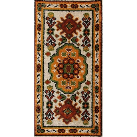 """Floral Hand Knotted Wool Swedish Rya Classical Oriental Area Rug - 4'5"""" x 2'3"""""""