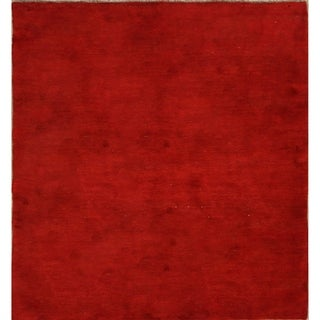 """Gabbeh Persian Hand Knotted Wool Traditional Solid Area Rug - 6'7"""" x 5'1"""""""