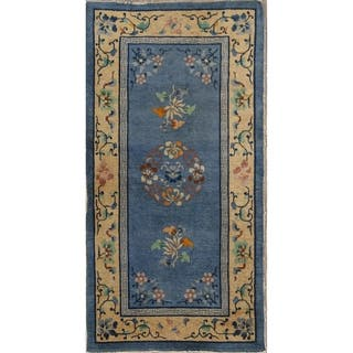 """Art Deco Hand Knotted Antique Oriental Bordered Area Rug - 5'1"""" x 4'4"""""""