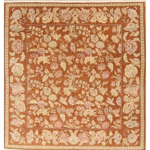 "Handmade Oushak Peshawar Traditional Oriental Floral Area Rug - 10'0"" x 9'8"" Square"