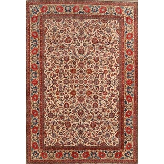 """Floral Kashan Hand Knotted Antique Persian Medallion Area Rug - 11'5"""" x 8'0"""""""