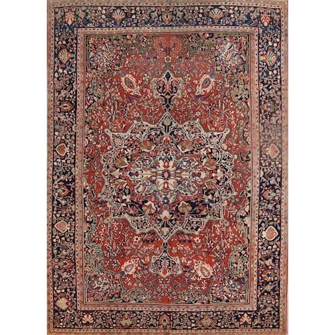 "Antique Floral Sarouk Handmade Woolen Persian Area Rug - 13'6"" x 9'9"""