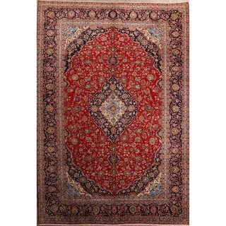 """Vintage Medallion Kashan Hand Knotted Persian Area Rug - 13'11"""" x 9'8"""""""