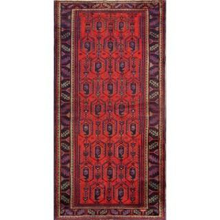 """Hamedan Hand Made Wool Vintage Persian Geometric Rug - 7'0"""" x 3'5"""" Runner"""