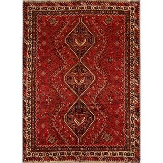 """Shiraz Hand Knotted Wool Vintage Persian Oriental Area Rug - 9'10"""" x 7'2"""""""