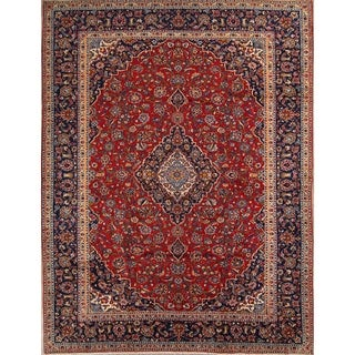 "Kashan Hand Knotted Wool Vintage Persian Medallion Area Rug - 12'11"" x 9'7"""