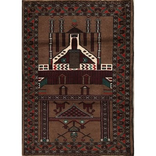 "Balouch Turkoman Hand Knotted Persian Geometric Area Rug - 3'10"" x 2'9"""